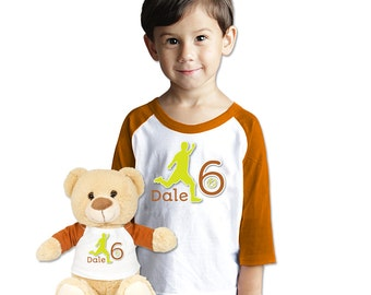 Personalized Name T Shirt With Matching Plush Bear with Custom Soccer Shirt with Plush Gift Set