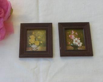 Pictures -  Miniatures - Floral Pictures - Set of 2 - Vintage