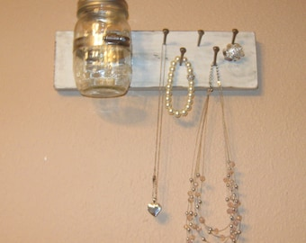 Key holder with mason jar vase, jewelry holder with decorative wall vase, necklace holder, entry way shelf