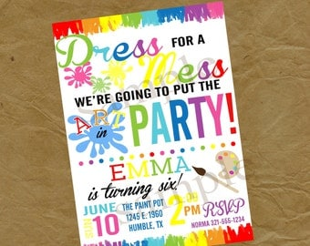 Paint or Color Birthday Party Invitation - Digital or Printed