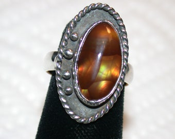 FIRE AGATE RING sterling silver handcrafted southwestern styling with an oval designer cabochon size 4 3/4