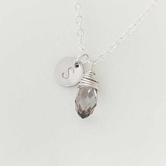 Delicate Personalized Initial Necklace, Swarovski Crystal Necklace