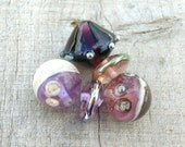 Lampwork Beads, Spring Berry Shades, Dots Silvered Glass, Handmade Supplies for Lampwork Jewelry