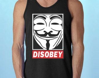 Disobey * MeN's TaNK-ToP * V for Vendetta Rebel shirts