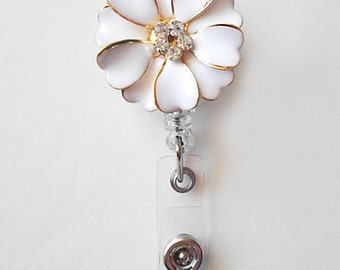 White Bling Alloy Flower - Rhinestone Retractable Badge Reel - Badge Holders - Designer ID Reel - Nurse Gifts - Pretty Name Badge Clips