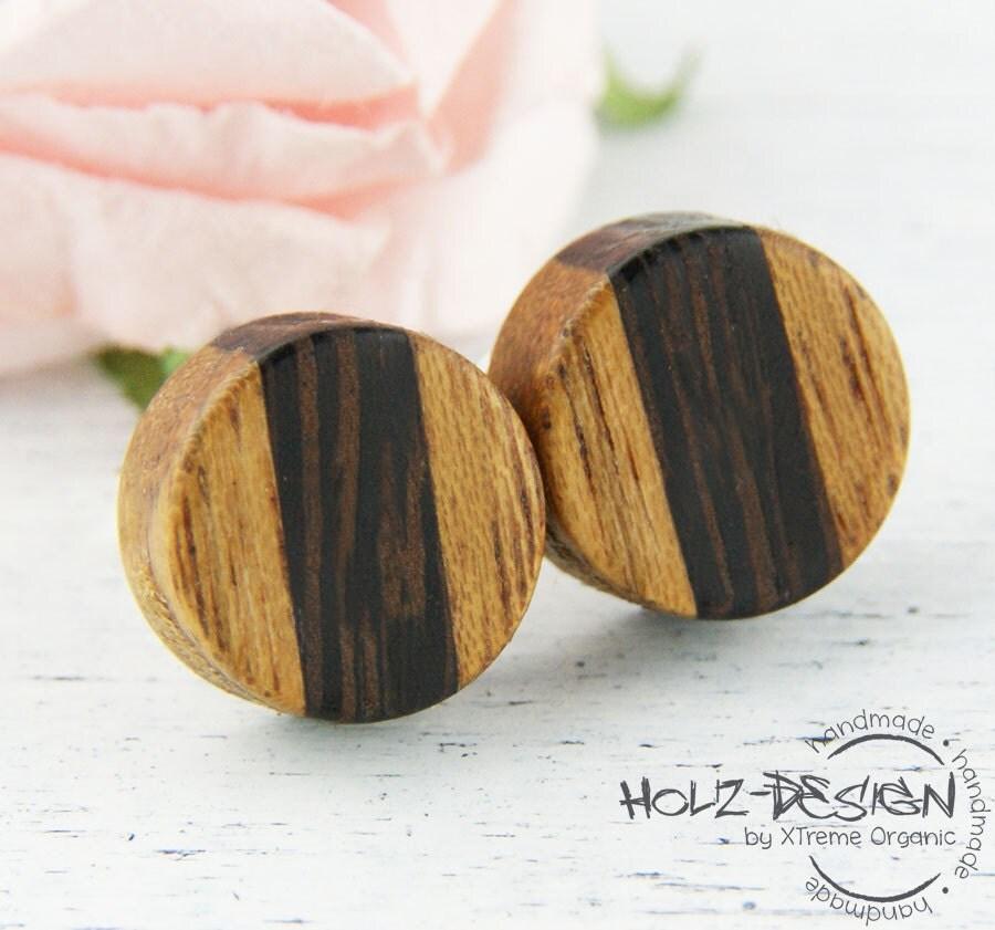Ohrringe Aus Holz FUr Männer ~ Mini Ohrstecker aus Holz Kleine Ohrringe von HolzDesignGermany