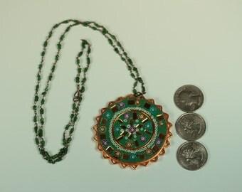 Beaded India Mosaic Medallion Necklace