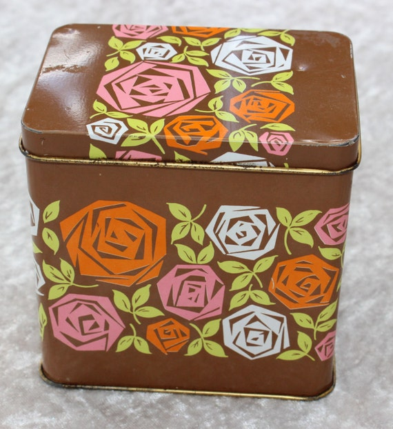 50% OFF Cute retro 70s brown canister with floral pattern from Great Britain