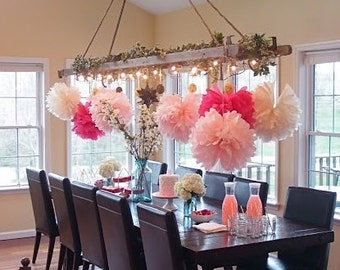Tissue Paper Flowers set of 36 (12/12/12) - Girly Pink Theme Party - Tissue Pom Poms - Paper Balls - Wedding set - Birthday decorations