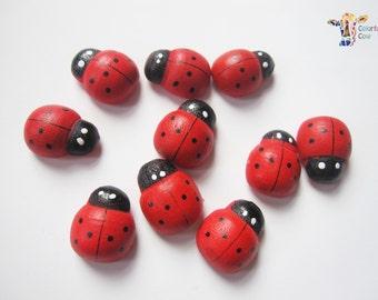 Wooden Ladybug/Ladybird Stickers - 10-30 pieces