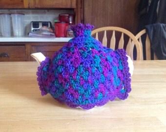 Crocheted Tea Pot Cozy/Button Closure/Granny Square