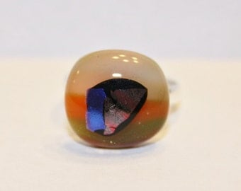 ON SALE - Handmade Adjustable Ring - Fused Glass Jewelry - Glass Ring - Multicolored