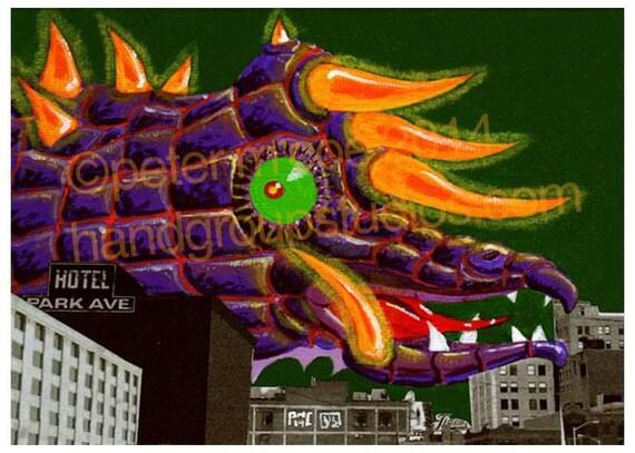 "Detroit Kaiju Monster Dragon 5x7 Print ""Kaijulia Checks In"" Original Art Print by Pete Coe"