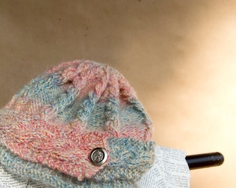 Hand Knit Beanie Hat | Silly in Salmon For Real in Teal