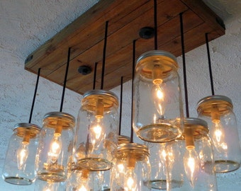 12 Pendant Mason Jar Chandelier, Kitchen Lighting, Mason Jar Light Fixture, Chandelier, Mason Jar Light, Pendant Light, Dining Room Lighting