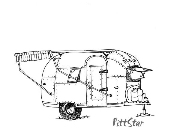 Innovative Instant Download Vintage Travel Trailer Printable Coloring Page