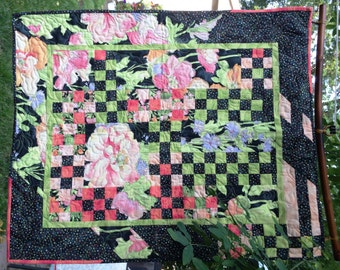 Peony Garden - unique design quilted floral wall hanging