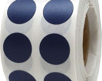 "1,000  Navy Blue Dot Stickers - Small 1/2"" Inch Round Adhesive Labels/Roll"