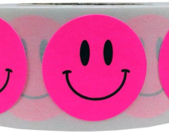 500 Fluorescent Pink Smiley Happy Face Stickers - 0.75 Inch Round