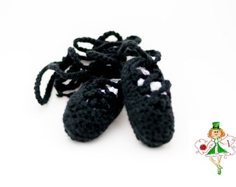 Baby Crochet Irish Dance Shoes, Ghillies, Baby Crochet Ghillie Shoes, Baby Ballet Shoes