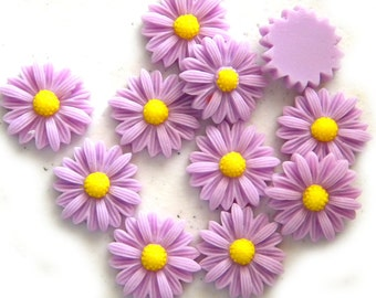4 Extra Large Purple Daisy Flatbacks - Resin Cabochons