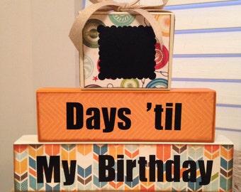 Birthday countdown chalkboard wood blocks