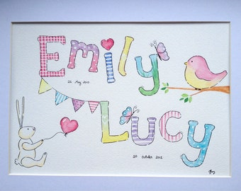 Children's name or initial watercolour painting