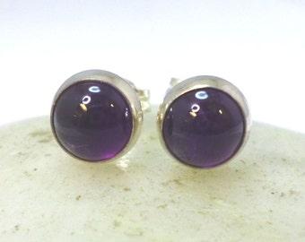 Sterling Silver  and Amethyst Stud Earrings Silver Studs Amethyst earrings 6mm Round