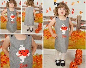 Boo Dress,Halloween Dress, Applique Dress,Black Gingham