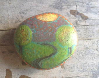 Beach rock..handpainted..Mexico..path of enlightenment..prayer rock..altar rock..mini art..paperweight...