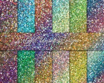 Color Waves Sparkling Glitter Digital Scrapbook Printable Paper