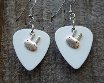 White Guitar Pick and Silver Bunny Charm Earrings
