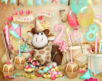 Happy Birthday - Digital Scrapbook Kit with FREE Numbers - Elements and Papers - F002