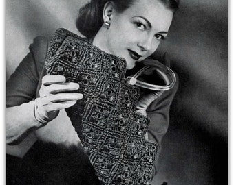 Vintage Crochet Pattern -  Digitally Restored 1940's Handbag Purse Pattern - PDF - Carryall Bag - Instant Download