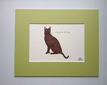 "Havana Brown Cat Drawing - ORIGINAL - w/ 8""x10"" mat"