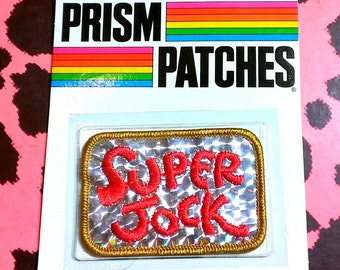 """Vintage 1980's """"Super Jock"""" Reflective Prism Embroidered Collectible Patch"""