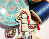 Horse Brooch - Rita the Retro Horse from my childhood memories! Hand drawn, painted and hand stitched!