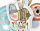 "BROOCH - ""Sewing Bee"" with a thimble top hat/mixed media"