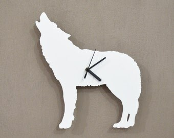 Alpha Male Howling Wolf  Silhouette - Wall Clock