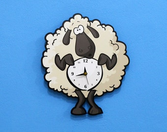 Cute Little Sheep Cartoon - Wall Clock