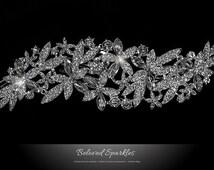Bridal Hair Comb, Cascade Flower Cluster Crystal Wedding Hair Comb, Floral Art Deco Rhinestone Bridesmaid Hair Comb Accessories