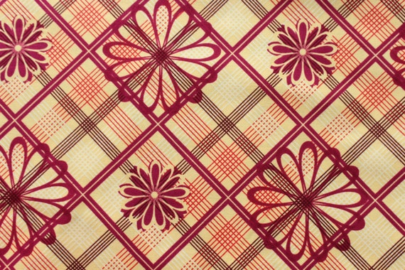 Daisy Plaid VIP Cranston Village Maroon. Fabric By The Yard