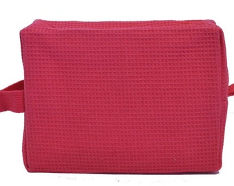 Personalized Waffle Cosmetic Bag Large Fuchsia with FREE Personalization & FREE SHIPPING ww-fuchsia