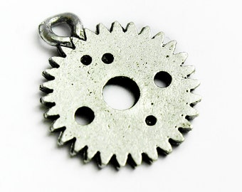 Small Pewter Clock Gear Charm, Steampunk Charms,10mm, Made in USA, #Q125
