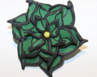 Polymer Clay Leaf Brooch