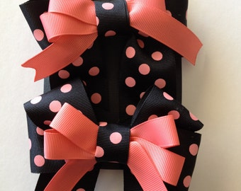 Black and salmon polka dot hair bow set for your little girl