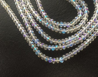 """16"""" Chinese Glass 6mm Faceted Rondelle Beads – Clear AB"""