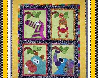 Jungle Jubilee Appliqué Quilt Digital Pattern (#106) - Instant Download