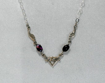Purple Paua Shell and Sterling Silver Necklace - Silver Chain     (GS-411)