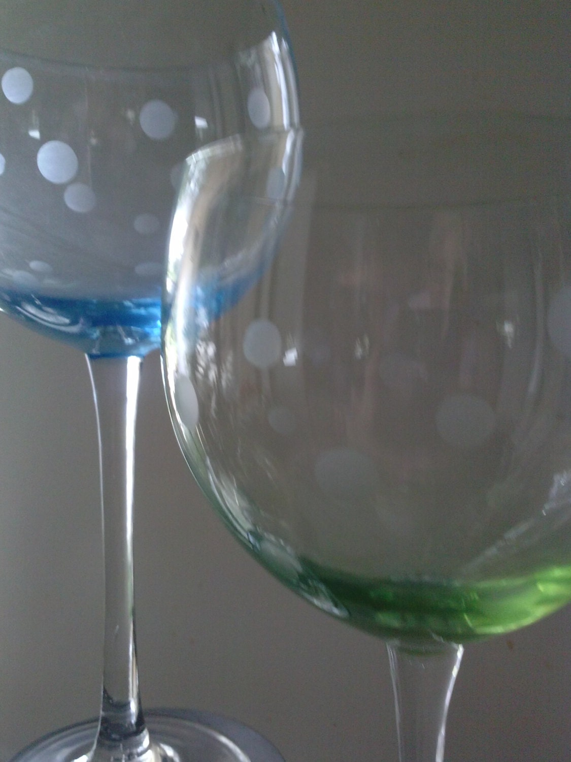 etched wine glasses set of 4 blue and green fine crystal